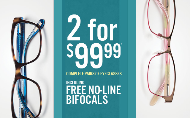 2 complete pairs for $99 including free no-line bifocals